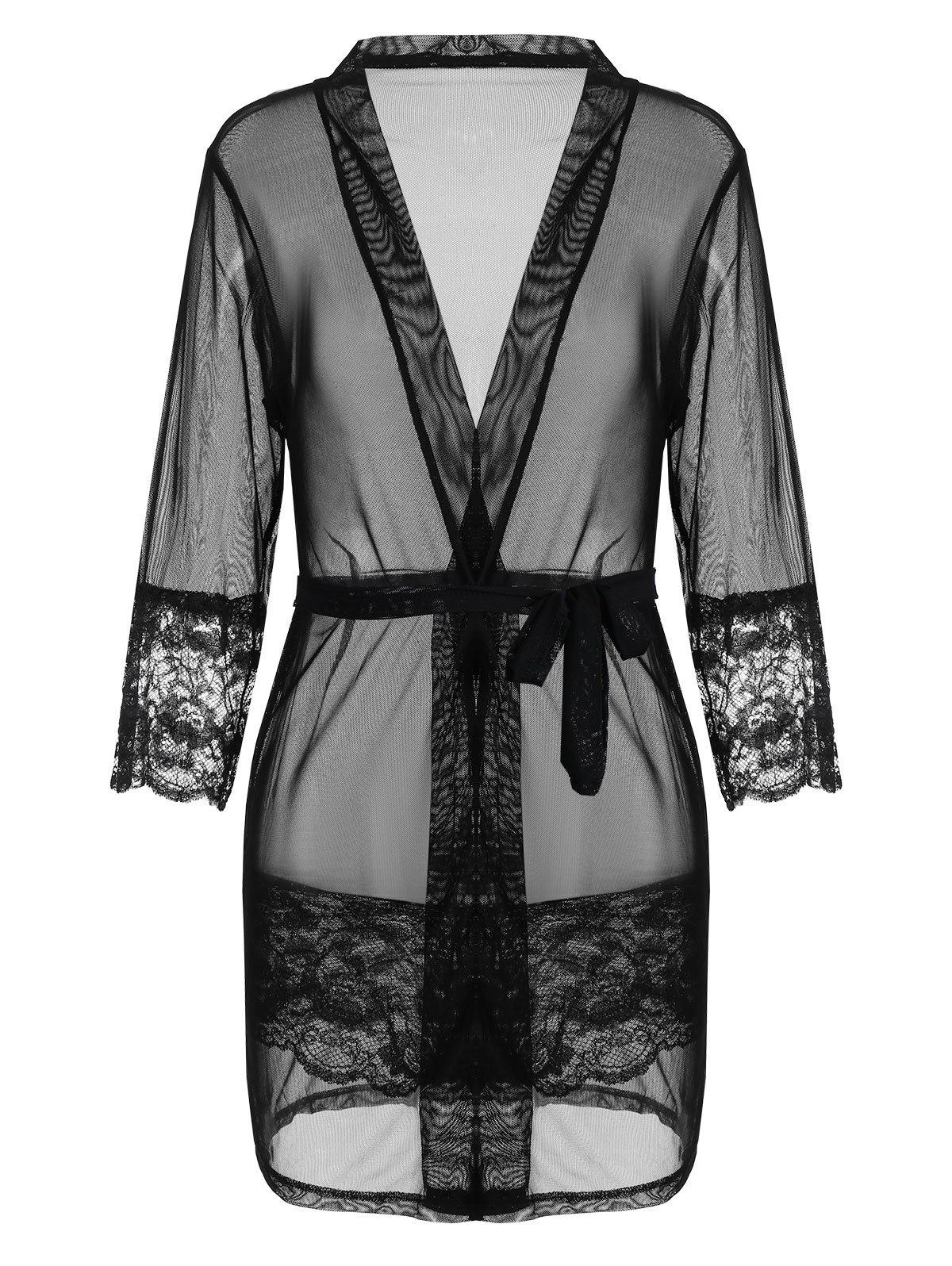 See Thru Mesh Wrap SleepwearWOMEN<br><br>Size: ONE SIZE; Color: BLACK; Material: Polyester; Pattern Type: Solid; Weight: 0.1900kg; Package Contents: 1 x Sleepwear  1 x Briefs  1 x Belt;