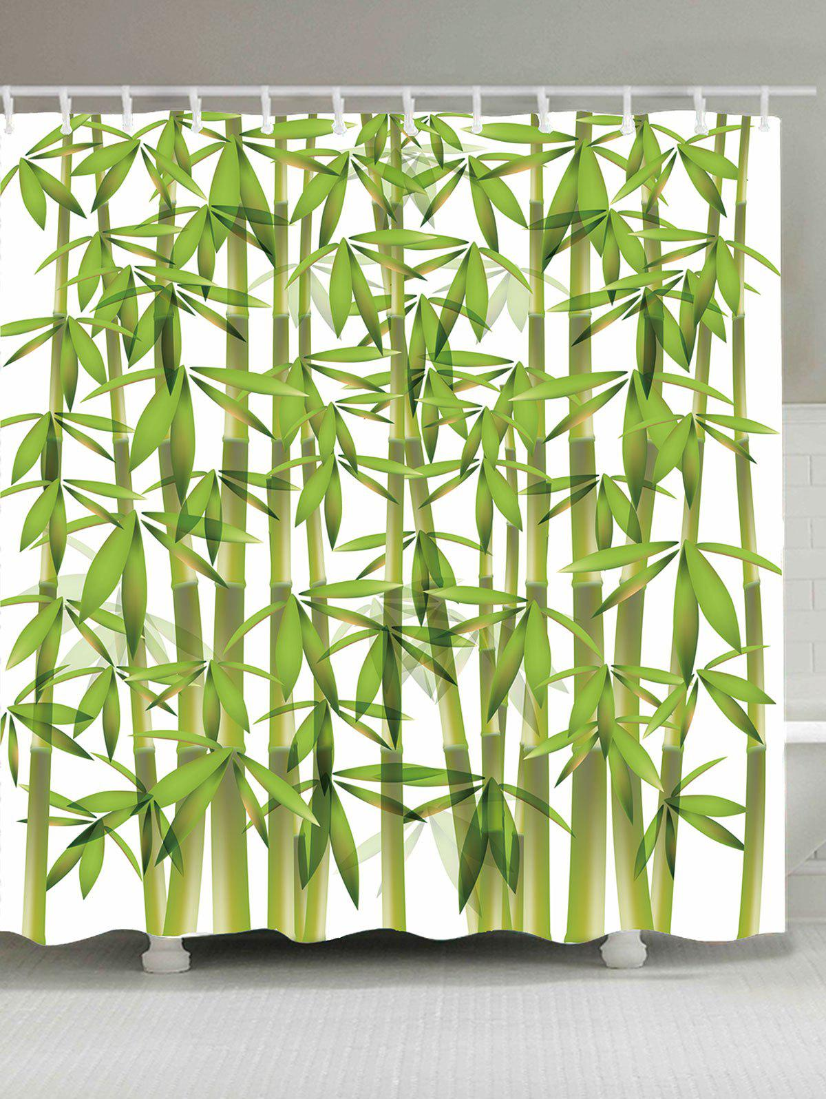 Bathroom Product Bamboo Print Waterproof Shower CurtainHOME<br><br>Size: W71 INCH * L71 INCH; Color: GREEN; Products Type: Shower Curtains; Materials: Polyester; Pattern: Print; Style: Fresh Style; Number of Hook Holes: 12; Package Contents: 1 x Shower Curtain 1 x Hooks (Set);