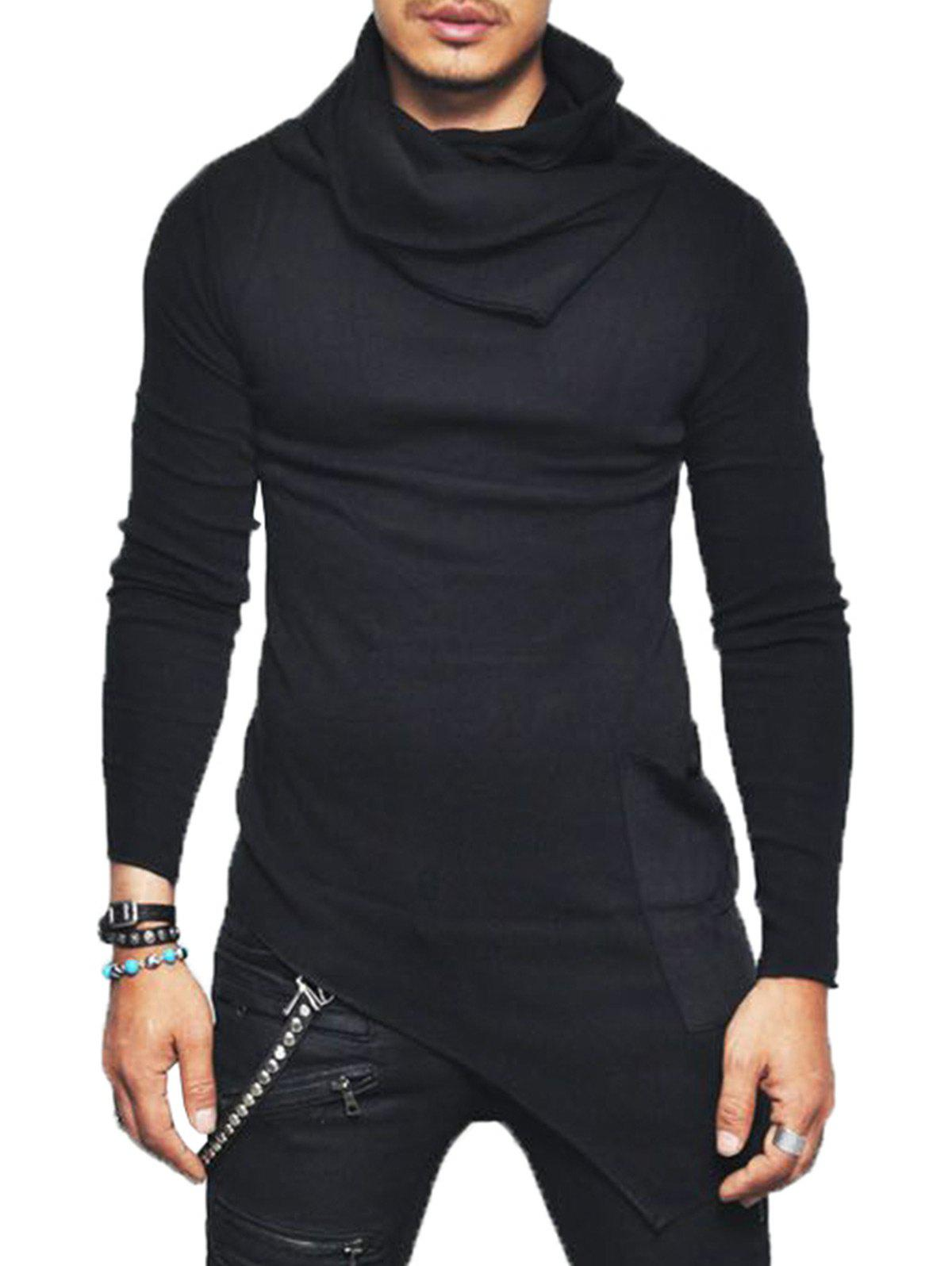 Pocket Cowl Neck Asymmetrical SweaterMEN<br><br>Size: 2XL; Color: BLACK; Type: Pullovers; Material: Cotton,Polyester; Sleeve Length: Full; Collar: Cowl Neck; Style: Fashion; Weight: 0.4110kg; Package Contents: 1 x Sweater;