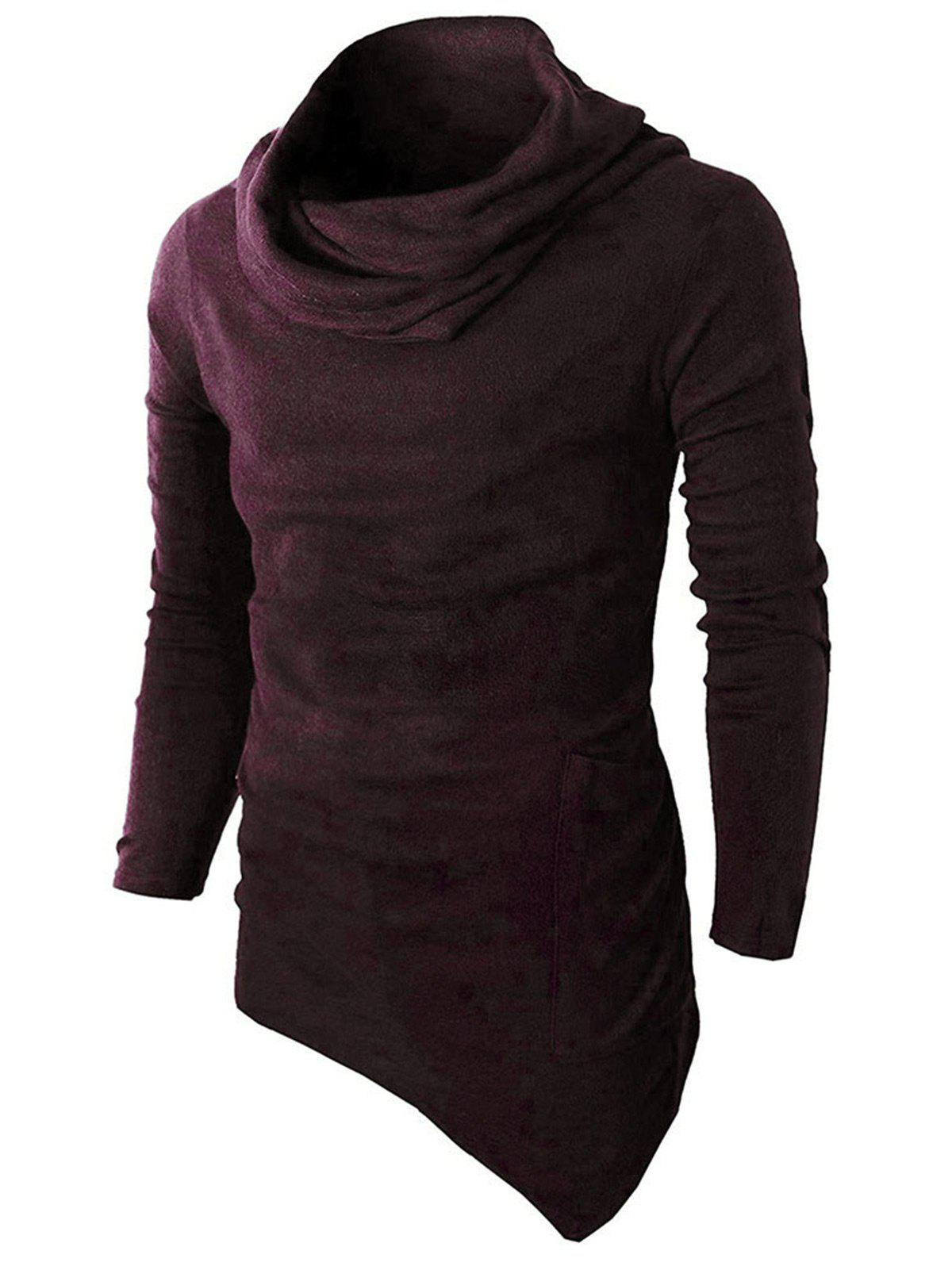 Pocket Cowl Neck Asymmetrical SweaterMEN<br><br>Size: L; Color: WINE RED; Type: Pullovers; Material: Cotton,Polyester; Sleeve Length: Full; Collar: Cowl Neck; Style: Fashion; Weight: 0.4110kg; Package Contents: 1 x Sweater;