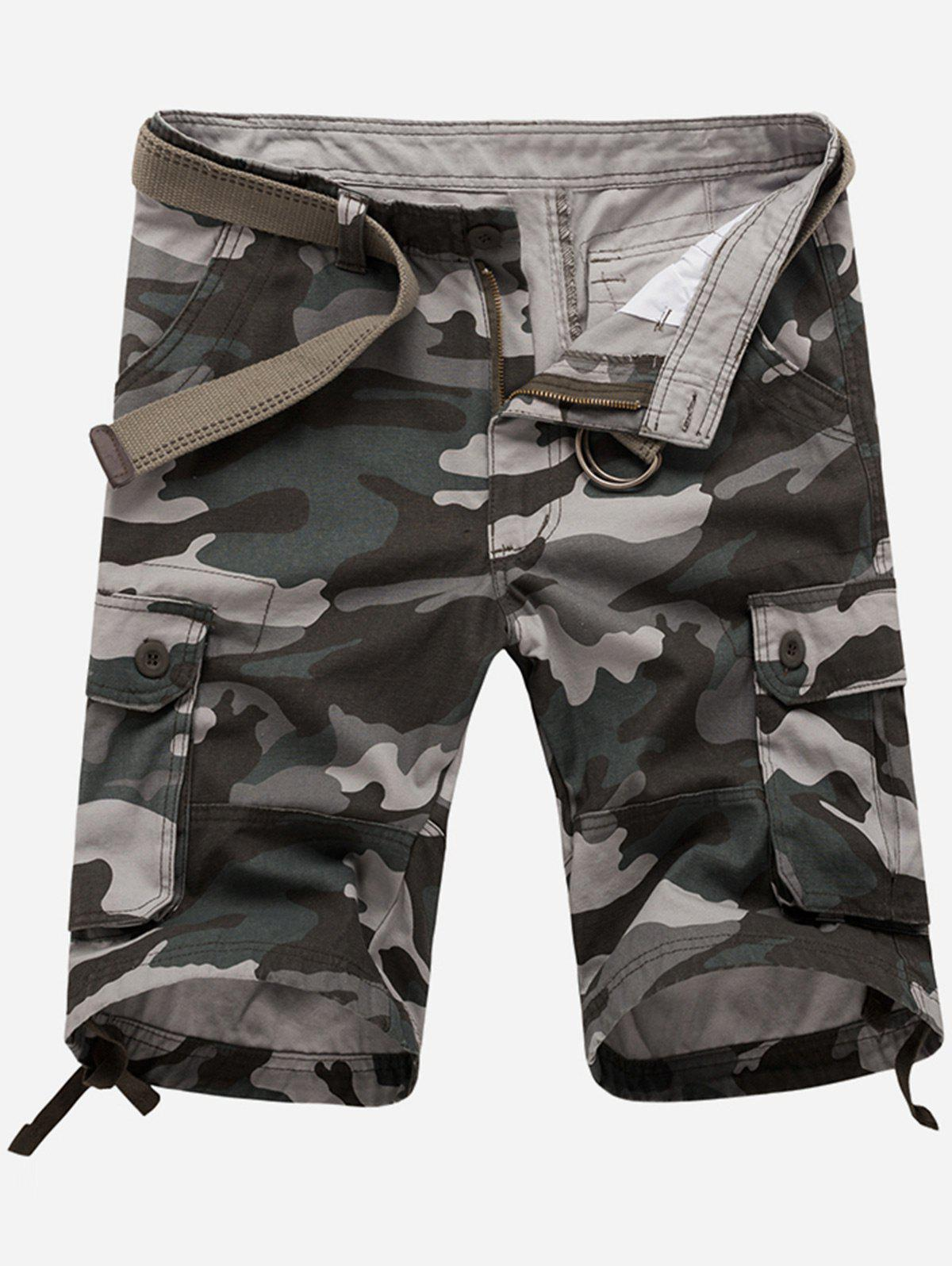 Hot Zip Fly Flap Pockets Camouflage Cargo Shorts