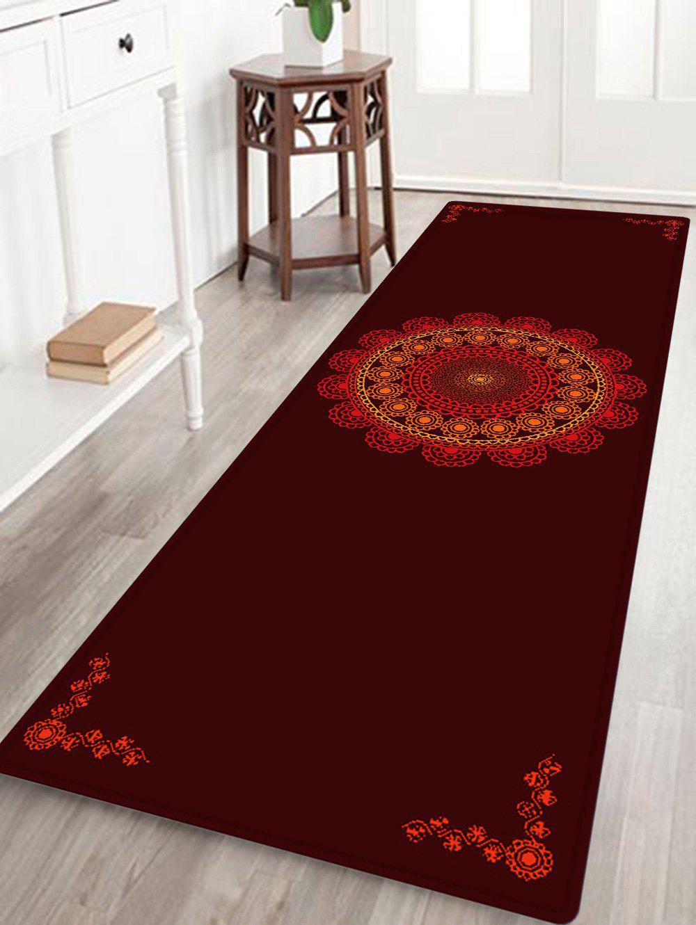 Mandala Boho Pattern Anti-skid Water Absorption Area RugHOME<br><br>Size: W16 INCH * L47 INCH; Color: DARK RED; Products Type: Bath rugs; Materials: Flannel,Sponge; Style: Bohemian; Shape: Rectangle; Package Contents: 1 x Rug;
