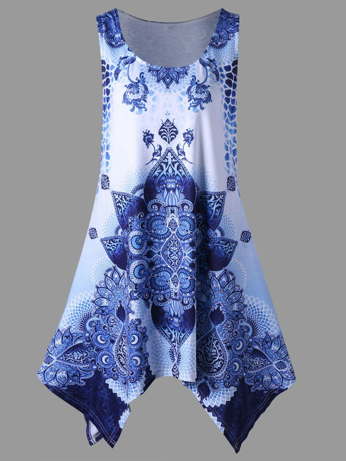 Plus Size Bandana Floral Handkerchief DressWOMEN<br><br>Size: 4XL; Color: BLUE; Style: Casual; Material: Polyester,Spandex; Silhouette: A-Line; Dresses Length: Mini; Neckline: Scoop Neck; Sleeve Length: Sleeveless; Pattern Type: Others; With Belt: No; Season: Summer; Weight: 0.2600kg; Package Contents: 1 x Dress;
