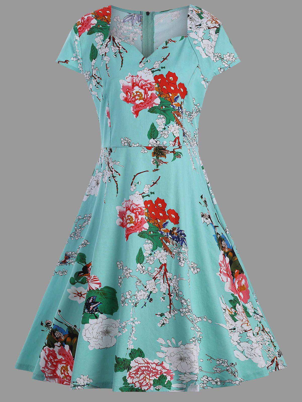 A Line Plus Size Vintage Flower DressWOMEN<br><br>Size: 8XL; Color: GREEN; Style: Vintage; Material: Polyester; Silhouette: A-Line; Dresses Length: Mid-Calf; Neckline: Sweetheart Neck; Sleeve Type: Cap Sleeve; Sleeve Length: Short Sleeves; Pattern Type: Floral; With Belt: No; Season: Summer; Weight: 0.4500kg; Package Contents: 1 x Dress;