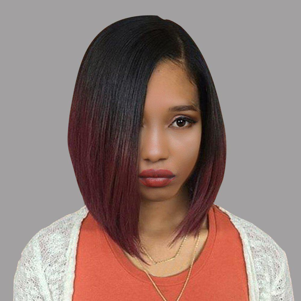 Short Side Part Straight Bob Ombre Synthetic WigHAIR<br><br>Color: BLACK / WINE RED; Type: Full Wigs; Cap Construction: Capless; Style: Straight; Material: Synthetic Hair; Bang Type: Side; Length: Short; Length Size(CM): 34; Weight: 0.1500kg; Package Contents: 1 x Wig;