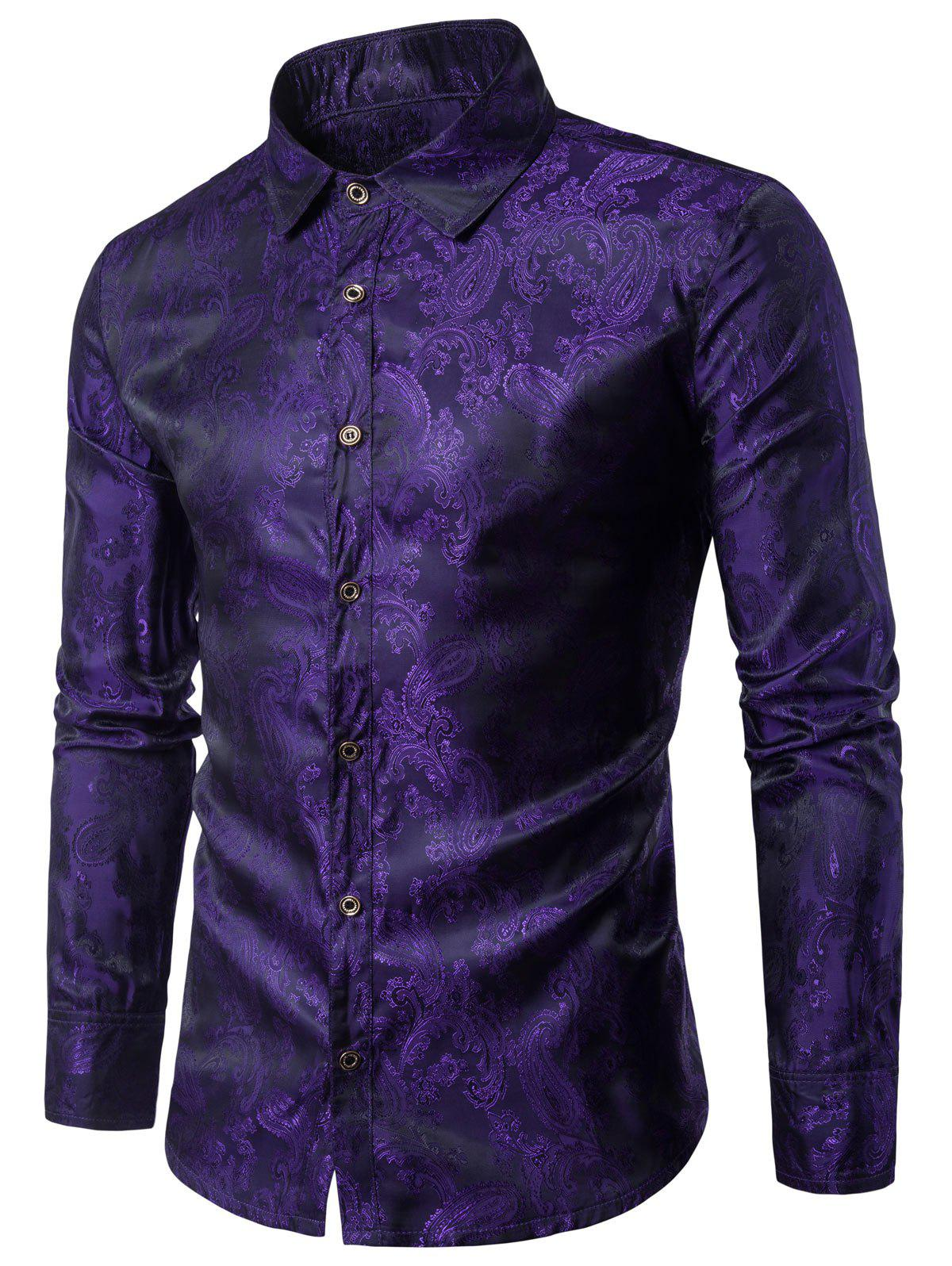 Long Sleeve Paisley Vintage ShirtMEN<br><br>Size: XL; Color: PURPLE; Shirts Type: Casual Shirts; Material: Cotton,Polyester; Sleeve Length: Full; Collar: Turndown Collar; Pattern Type: Floral; Weight: 0.1770kg; Package Contents: 1 x Shirt;