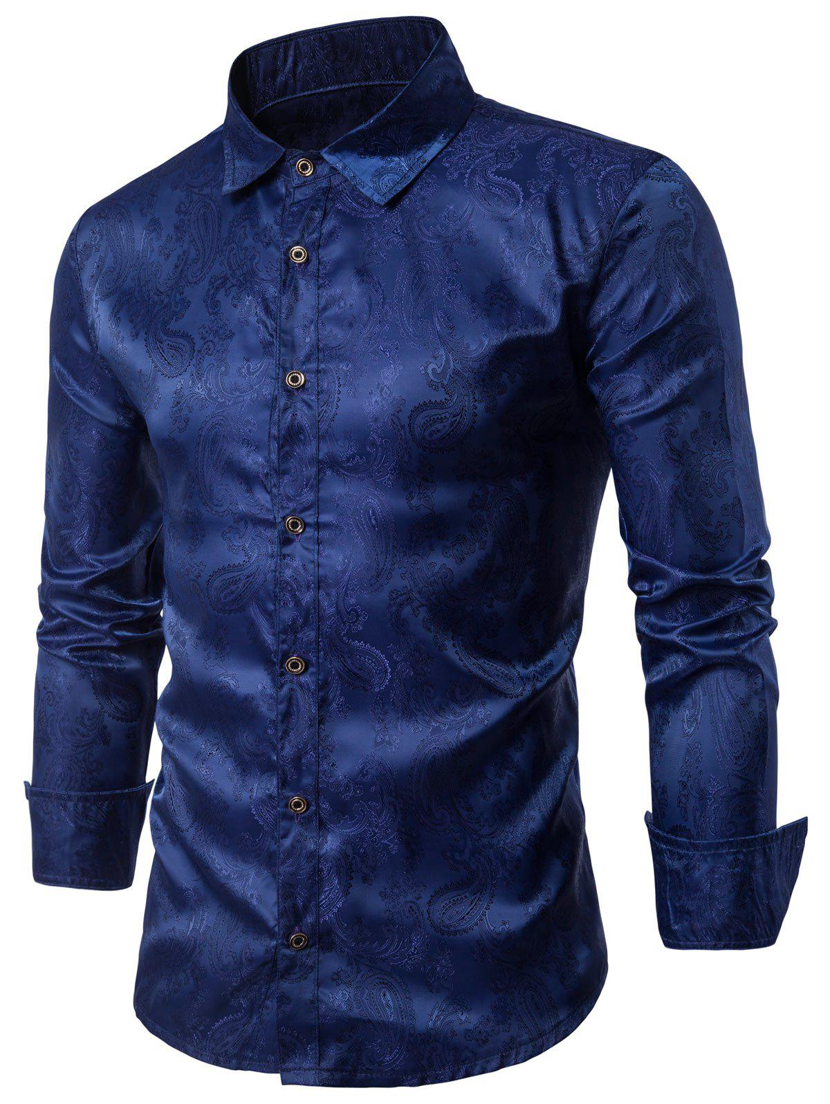 Long Sleeve Paisley Vintage ShirtMEN<br><br>Size: M; Color: CADETBLUE; Shirts Type: Casual Shirts; Material: Cotton,Polyester; Sleeve Length: Full; Collar: Turndown Collar; Pattern Type: Floral; Weight: 0.1770kg; Package Contents: 1 x Shirt;