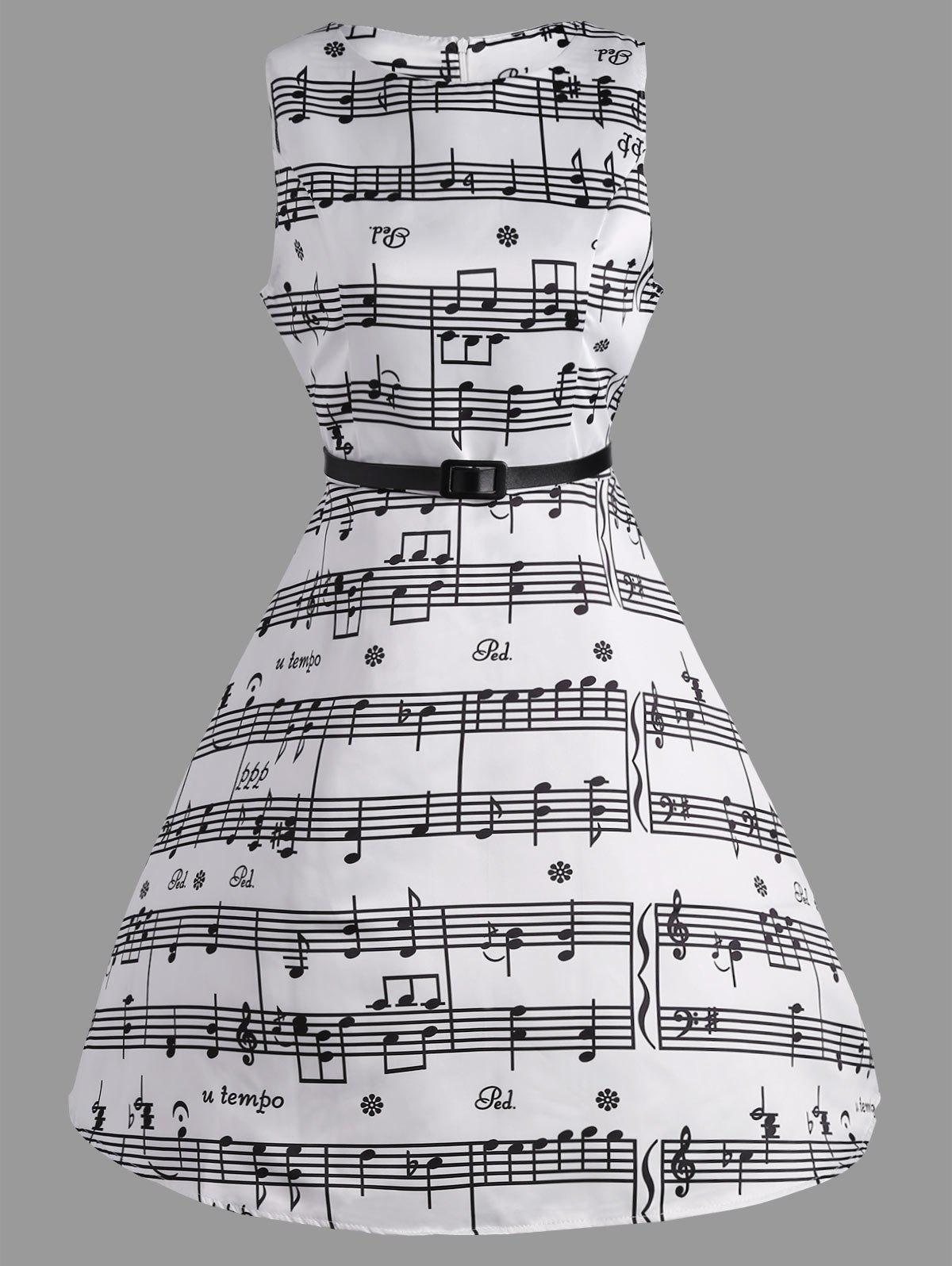 Music Note Print Party Swing DressWOMEN<br><br>Size: S; Color: WHITE; Style: Vintage; Material: Polyester; Silhouette: A-Line; Dresses Length: Knee-Length; Neckline: Round Collar; Sleeve Length: Sleeveless; Pattern Type: Print; With Belt: Yes; Season: Summer; Weight: 0.3000kg; Package Contents: 1 x Dress   1 x Belt;