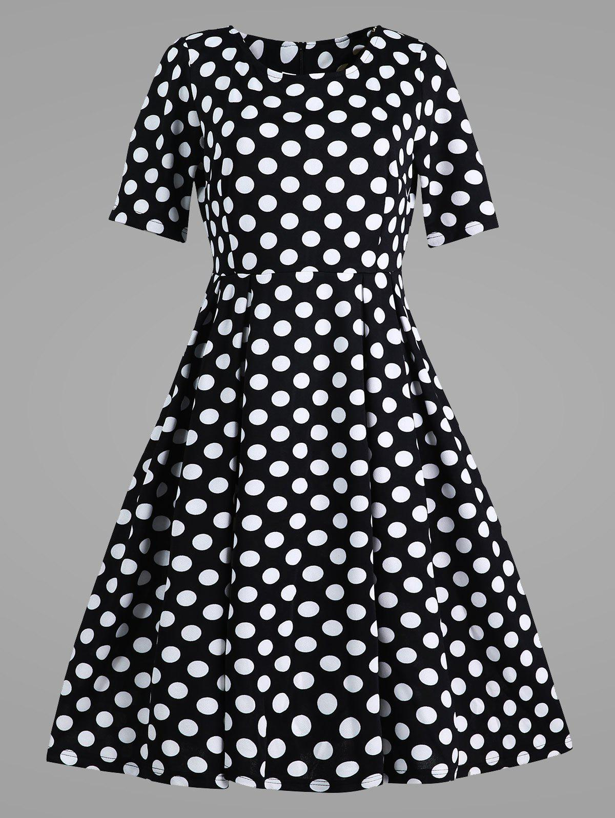 Polka Dot Plus Size Vintage Dress with PocketsWOMEN<br><br>Size: 5XL; Color: BLACK; Style: Vintage; Material: Cotton Blend,Polyester; Silhouette: Ball Gown; Dresses Length: Mid-Calf; Neckline: Round Collar; Sleeve Length: Short Sleeves; Waist: High Waisted; Embellishment: Pockets; Pattern Type: Polka Dot,Print; With Belt: No; Season: Spring,Summer; Weight: 0.3500kg; Package Contents: 1 x Dress;