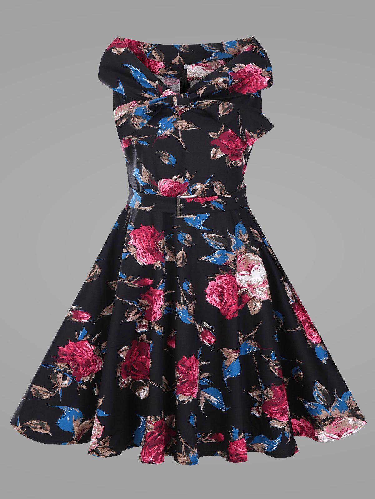 Cheap Rose Floral Plus Size Vintage Full Dress with Belt