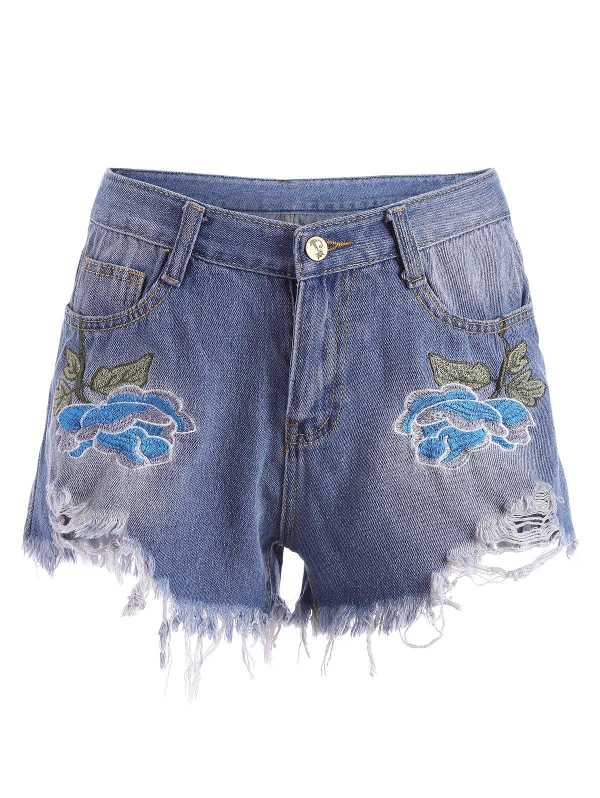 Affordable Embroidered Ripped Mini Denim Shorts
