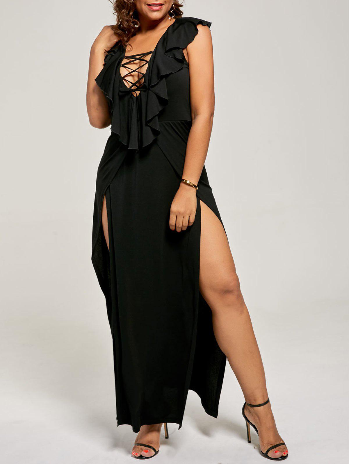 Plus Size Flounce Lace Up Maxi High Slit DressWOMEN<br><br>Size: 3XL; Color: BLACK; Style: Casual; Material: Polyester,Spandex; Silhouette: A-Line; Dresses Length: Floor-Length; Neckline: Plunging Neck; Sleeve Length: Sleeveless; Pattern Type: Solid; With Belt: No; Season: Fall,Spring,Summer; Weight: 0.3500kg; Package Contents: 1 x Dress;