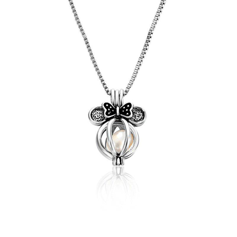 Faux Pearl Bows Cage Locket NecklaceJEWELRY<br><br>Color: SILVER; Item Type: Pendant Necklace; Gender: For Women; Style: Trendy; Shape/Pattern: Bows; Weight: 0.0300kg; Package Contents: 1 x Necklace;