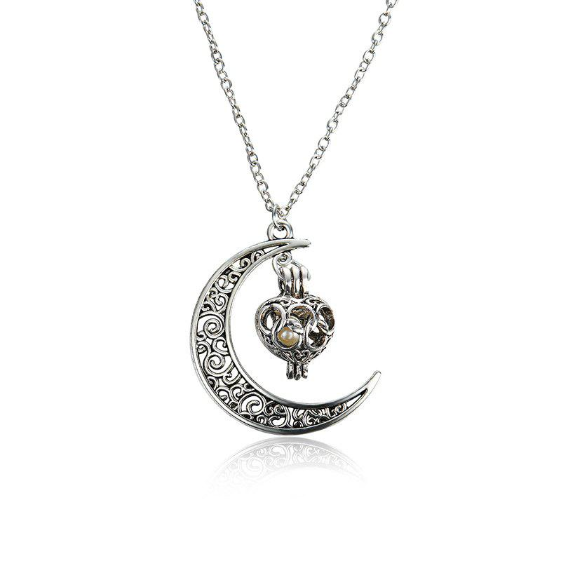 Engraved Faux Pearl Cage Moon NecklaceJEWELRY<br><br>Color: SILVER; Item Type: Pendant Necklace; Gender: For Women; Style: Trendy; Shape/Pattern: Moon; Weight: 0.0300kg; Package Contents: 1 x Necklace;