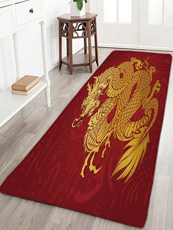 Flannel Skidproof Dragon Print Bath MatHOME<br><br>Size: W16 INCH * L47 INCH; Color: RED; Products Type: Bath rugs; Materials: Flannel; Pattern: Animal; Style: Chinese Style; Shape: Rectangle; Package Contents: 1 x Rug;