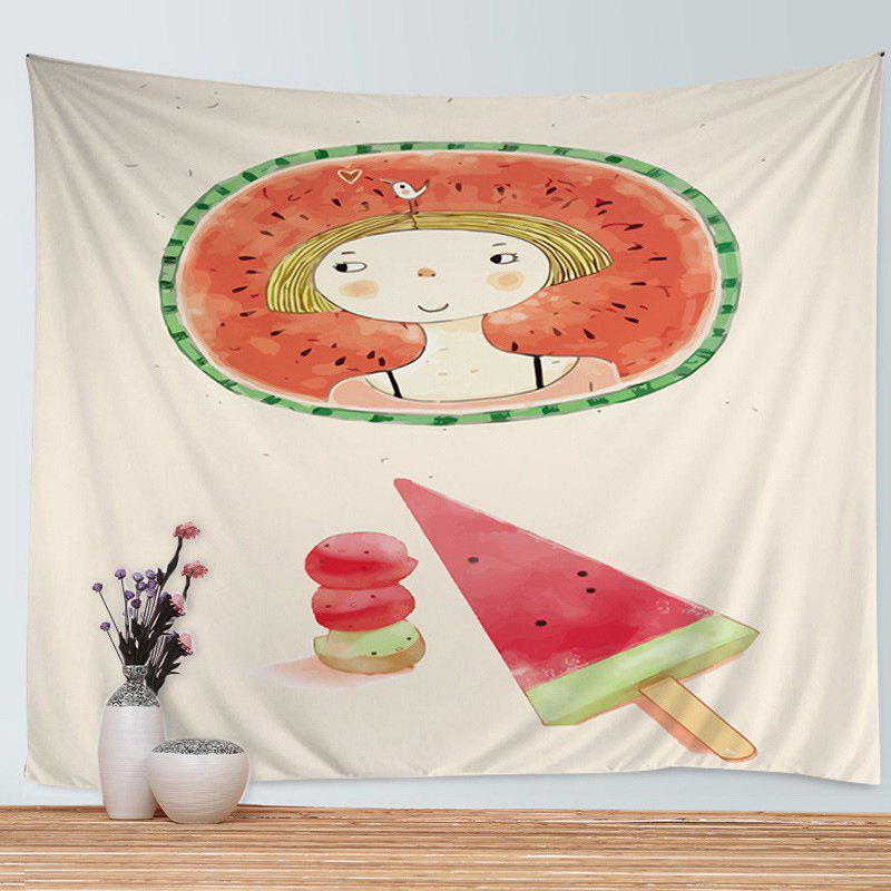 Affordable Watermelon Girl Print Tapestry Wall Hanging Art Decoration