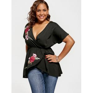 Floral Embroidery Plus Size Top - BLACK XL