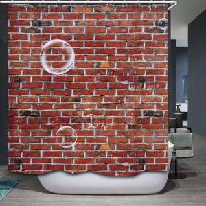 Brick Wall Pattern Fabric Waterproof Bathroom Shower Curtain - LATERITE W71 INCH * L71 INCH