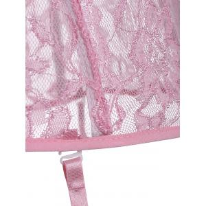 Lace Mesh Steel Boned Corset Top - PINK S