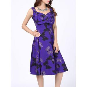 Sweetheart Neck Butterfly Print Vintage Dress - Blue Violet - S