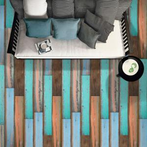 Vintage Wood Grain Pattern Vinyl Floor Sticker -