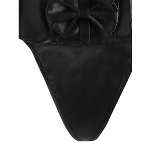 Pleated Lace-Up Bowknot Corset - BLACK 2XL