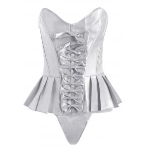Pleated Lace-Up Bowknot Corset