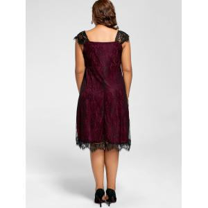 Lace Mini A Line Plus Size Robe de cocktail - Rouge vineux  5XL