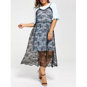 Long Tee and Plus Size Lace Slip Dress - Light Blue - 5xl