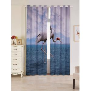 2 Panels Sea Flamingo Blackout Window Curtains - Lake Blue - W53 Inch * L96.5 Inch