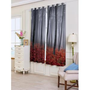 2 Panels Blackout Forest Maple Leaf Window Curtains - RED W53 INCH * L63 INCH