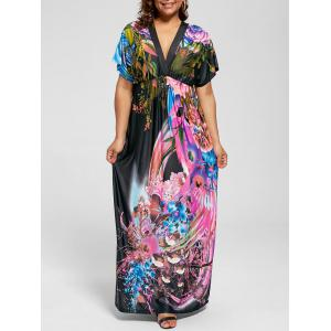 Short Sleeve Plus Size Printed Maxi Dress - Multi - 6xl
