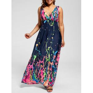 Empire Waist Sleeveless Plus Size Maxi Splatter Print Dress