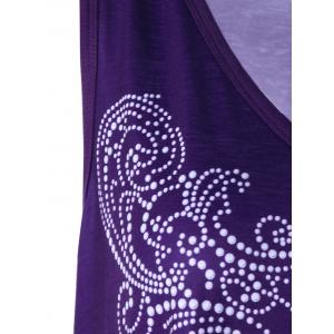 Plus Size Sleeveless Asymmetrical Graphic Top - PURPLE XL