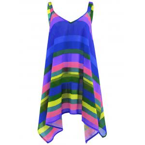 Plus Size Rainbow Striped Spaghetti Strap Top