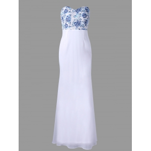 Flower Maxi Strapless Open Back Prom Dress