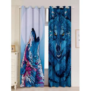 2 Panel Wolf Animal Window Screen Blackout Curtain - Blue - W53 Inch * L96.5 Inch
