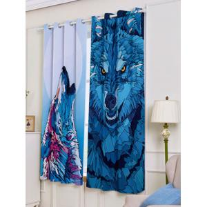 2 Panel Wolf Animal Window Screen Blackout Curtain -
