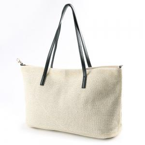 Straw Weave Shopper Bag - WHITE
