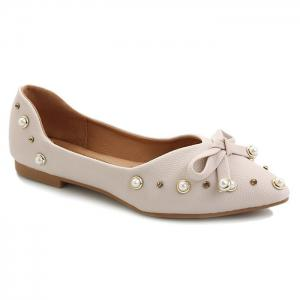 Faux Pearl Rhinestone Bowknot Point Toe Flats