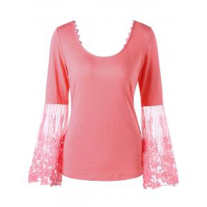 Lace Panel Bell Sleeve Bowknot Back Tee - Jacinth - M