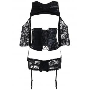 Lace Criss Cross Waist Training Corset Suit
