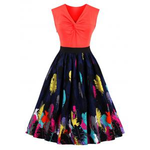 Feather Print Front Knot Vintage Skater Dress