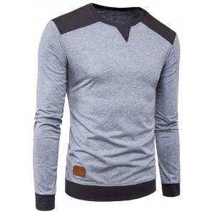 Long Sleeve Color Block Panel PU Leather Applique T-shirt - Light Gray - Xl