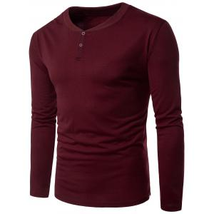 Rib Panel V Neck Long Sleeve Henley T-shirt