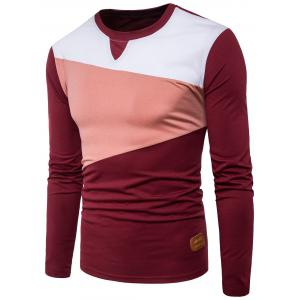 Long Sleeve PU Leather Applique Panel Design T-shirt