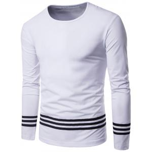Striped Design Crew Neck Long Sleeve T-shirt - White - 2xl