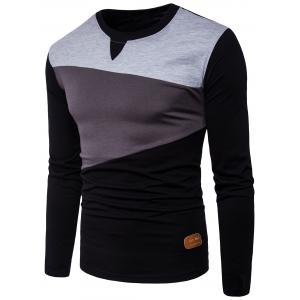 Long Sleeve PU Leather Applique Panel Design T-shirt - Black - 2xl