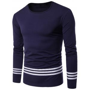 Striped Design Crew Neck Long Sleeve T-shirt