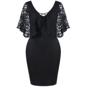 Lace Batwing Sleeve Plus Size Bodycon Dress - Black - 2xl